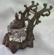Victorian Cast Iron Pen Stand with Inkwell