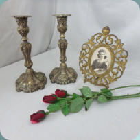 Antique Candle Sticks and Victorian Picture Frame
